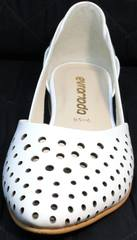 Остроносые балетки из перфорированной кожи Evromoda 286.85 Summer White.