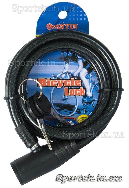 Велозамок под ключ на стальном тросе 10 х 1200 мм с черным виниловым покрытием