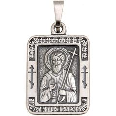 Святой Андрей. Нательная икона посеребренная.
