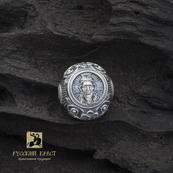 Бусина из серебра Спас Нерукотворный
