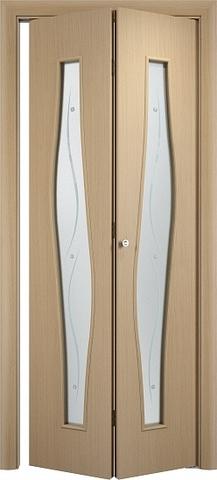 Дверь складная Верда С-10ф (2 полотна), Сатинато с фьюзингом, цвет беленый дуб, остекленная