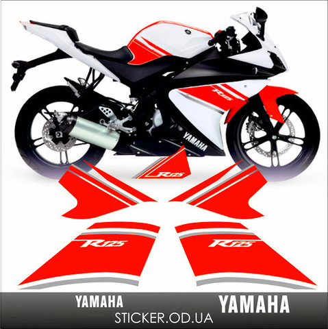 Набор виниловых наклеек на мотоцикл YAMAHA YZF-R125 2008