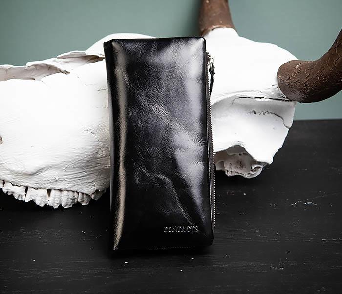 WL251-1 Строгий мужской клатч из черной натуральной кожи с молнией фото 01