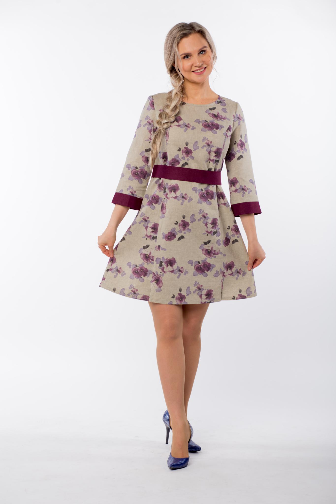 Платье льняное Лесная фиалка с поясом