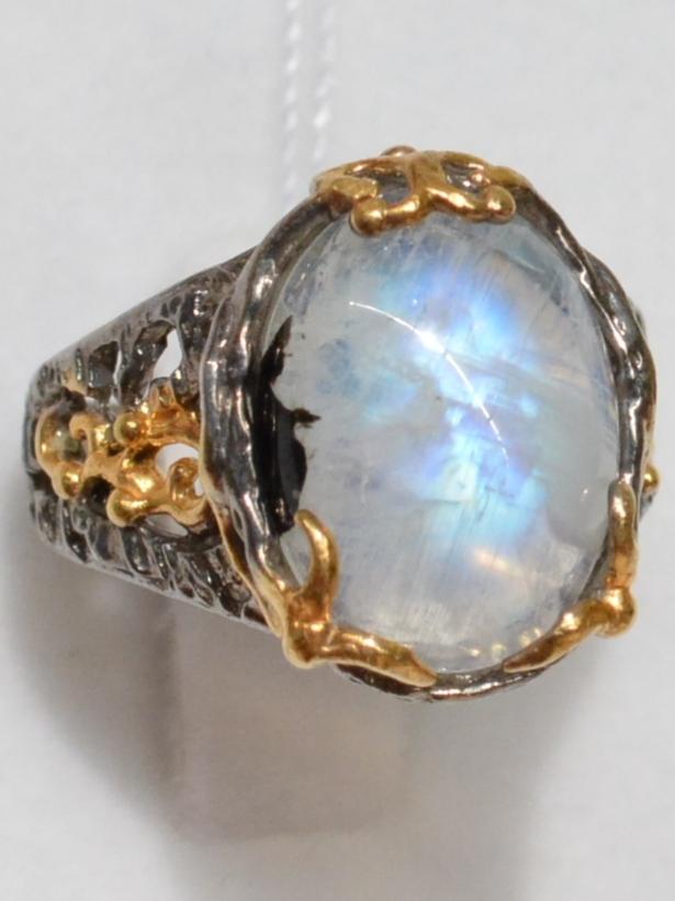 Лунный малый (серебряное кольцо с позолотой)