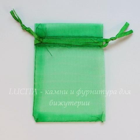 Подарочный мешочек из органзы, цвет - зеленый, 9х7 см