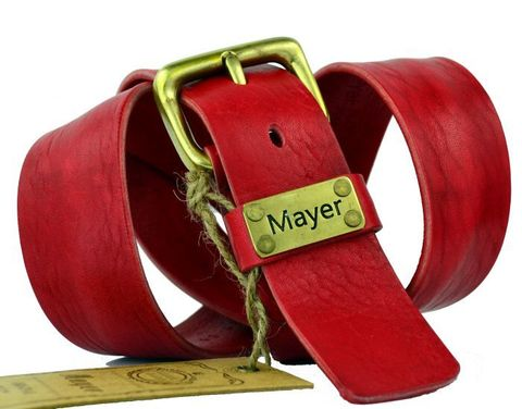 Мужской качественный стильный джинсовый красный ремень 40 мм из натуральной итальянской кожи с надёжной бронзовой пряжкой 40Mayer-100