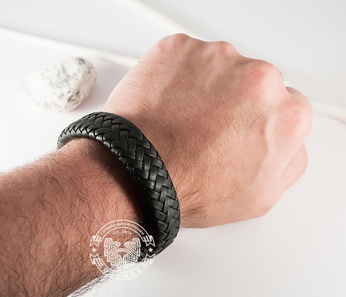 BM367 Широкий мужской браслет из натуральной кожи на магнитной застежке (22 см) фото 10