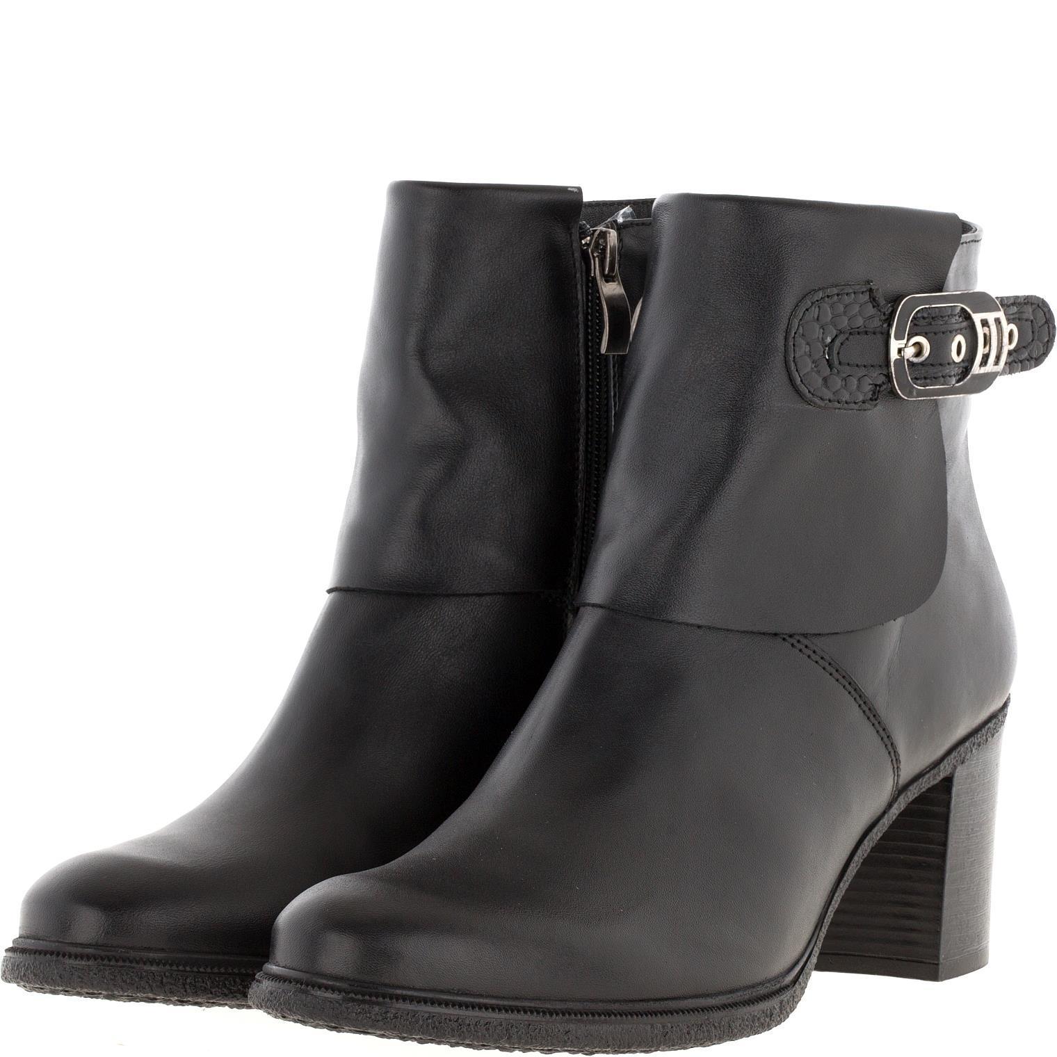 638409 Полусапожки женские черные кожа больших размеров марки Делфино