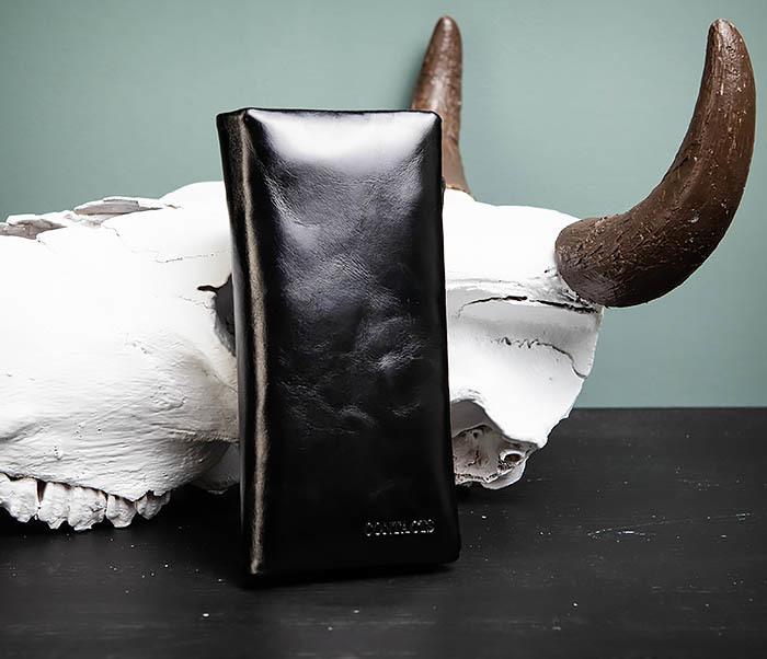 WL251-1 Строгий мужской клатч из черной натуральной кожи с молнией фото 03
