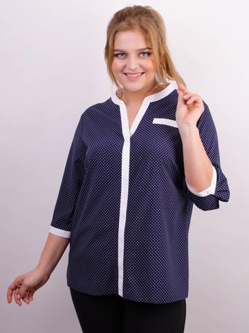 Аврора. Комбинированная блуза больших размеров. Синий+горошки.