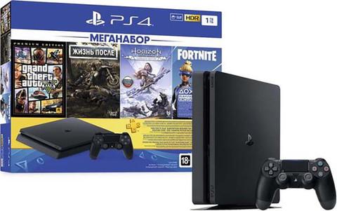 Sony PlayStation 4 Black Slim 1Tб + PS+ 3 месяца +  игра Жизнь после (Days Gone) + игра Grand Theft Auto V (GTA 5) + игра Horizon Zero Dawn. Complete Edition + игра Fortnite
