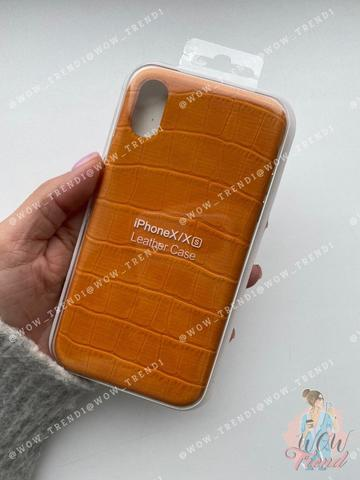 Чехол iPhone  XS Max Leather case full /yellow/