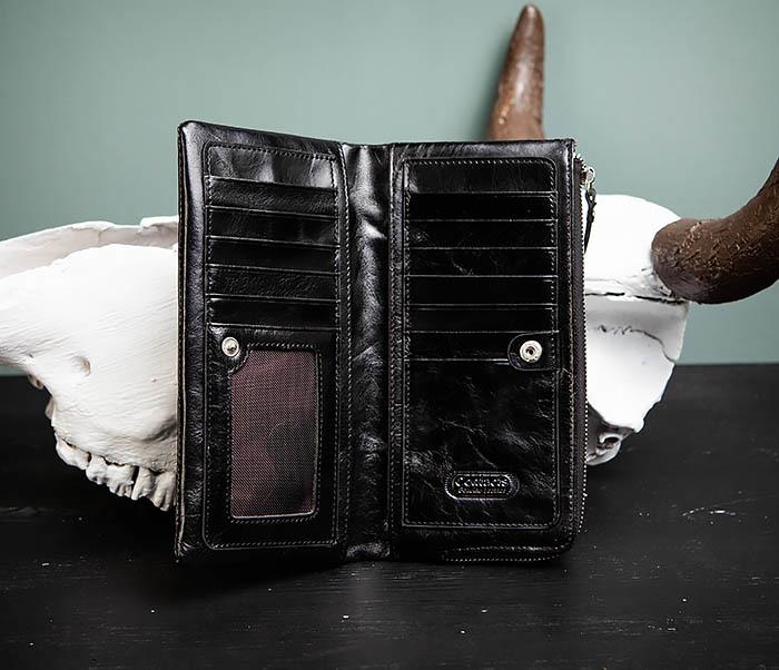 WL251-1 Строгий мужской клатч из черной натуральной кожи с молнией фото 05