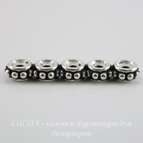 Разделитель на 5 нитей TierraCast (цвет-античное серебро) 27х6х3 мм ()