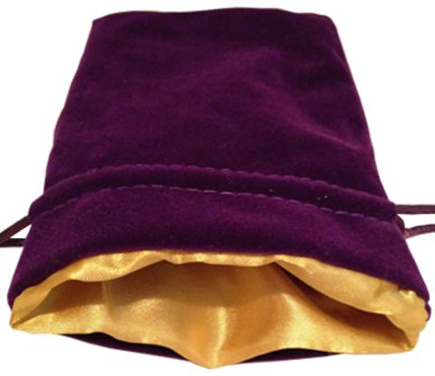 Фиолетовый бархатный мешочек для кубиков с золотой атласной подкладкой