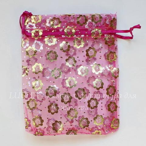 """Подарочный мешочек из органзы """"Цветочки"""", цвет - фуксия с золотом, 12х10 см"""
