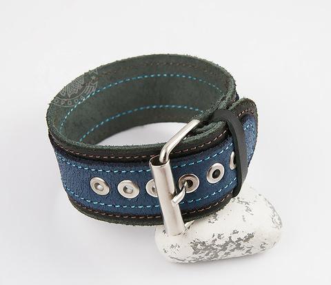 BL445-4 Браслет ручной работы из натуральной кожи синего цвета