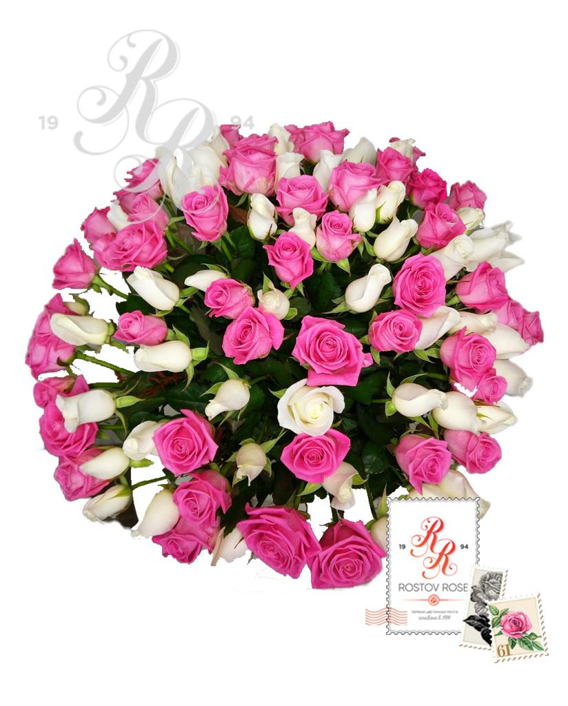 Букет 101 роза розово-белый микс