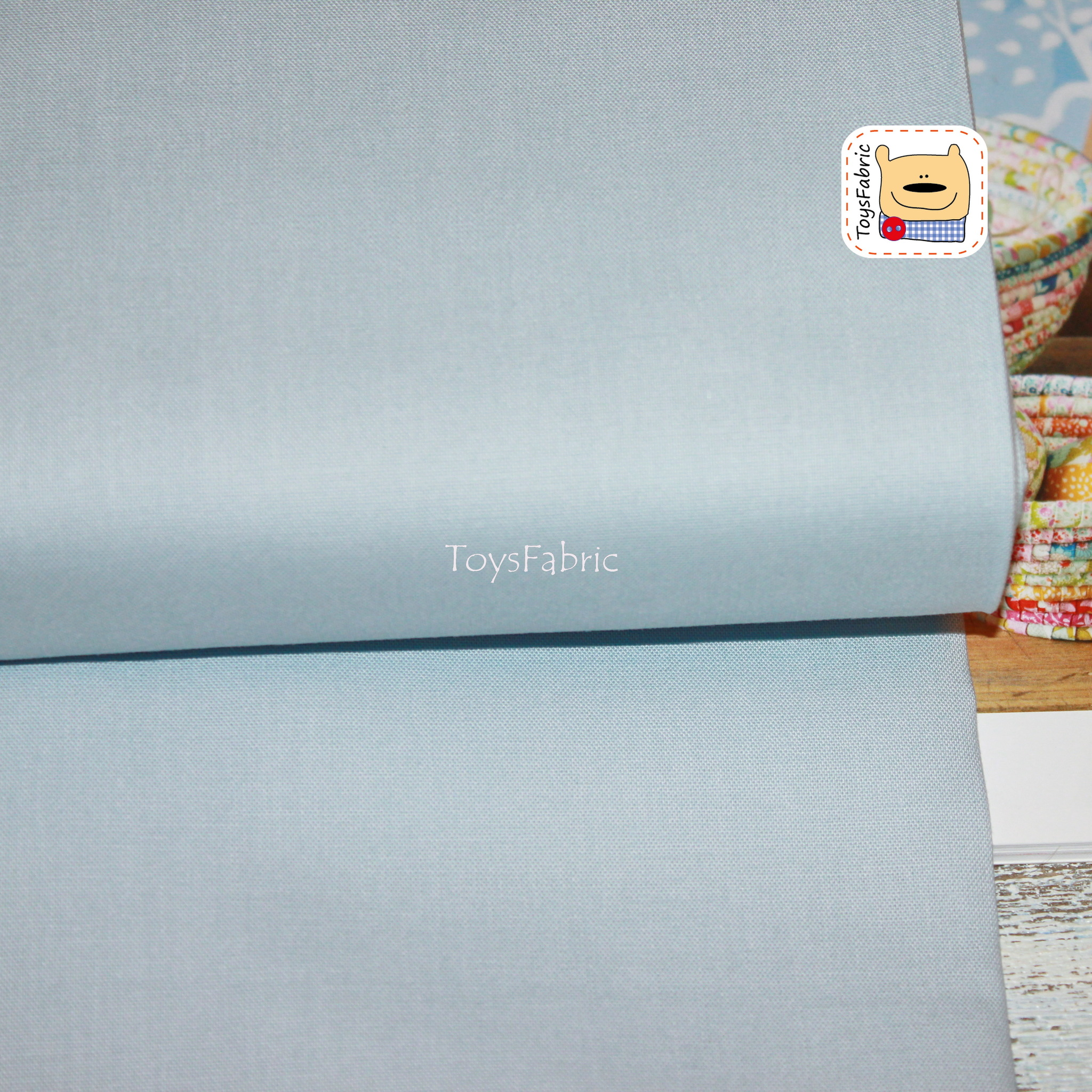 Ткань для пэчворка 20822 корейский хлопок (однотонный голубой) 45х55см