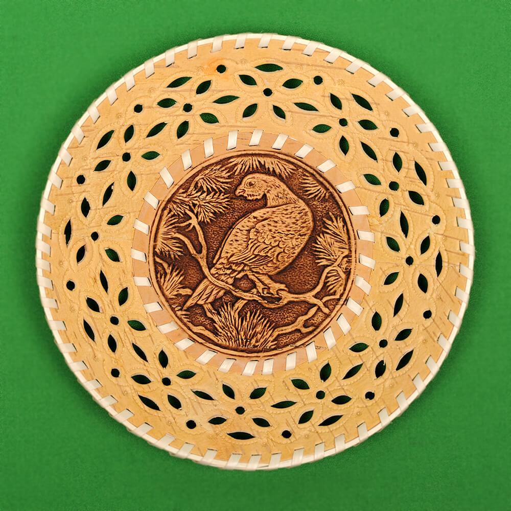 Тарелка круглая резная Глухарь