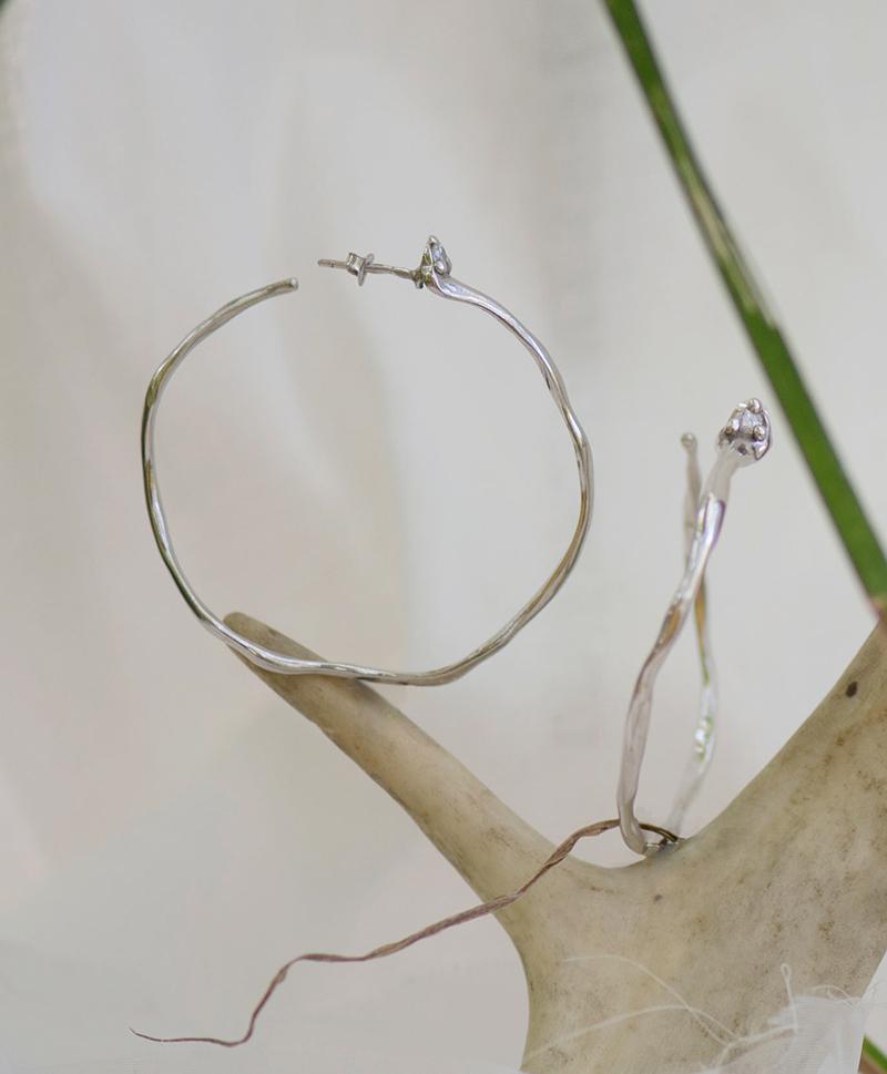 Серебрянные серьги кольца c фианитами