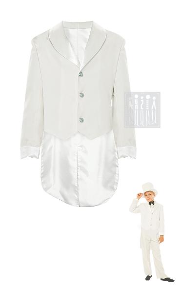 Белый фрак для мальчика изготовлен из габардина - прочной костюмной ткани, с подкладкой. Манжеты и лацканы выполнены из блестящего креп-сатина.