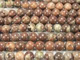 Нить бусин из яшмы травяной, шар гладкий 10мм