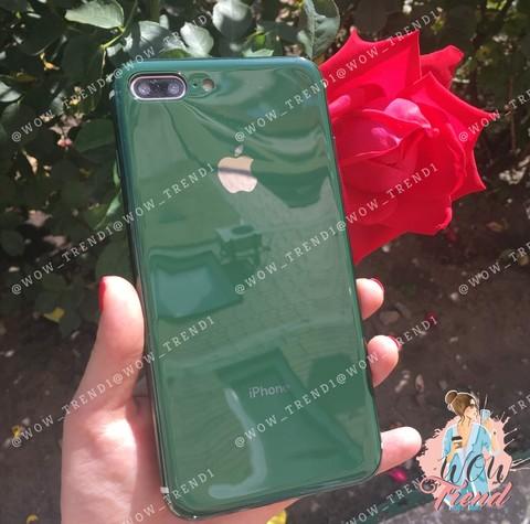 Чехол iPhone 7/8 Plus Glass Silicone Case Logo /green/