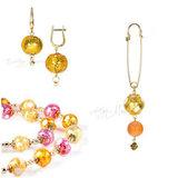 Серьги, ожерелье, брошь (комплект украшений Bella янтарно-розовый)