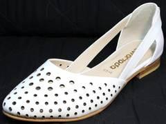Открытые балетки с острым носом Evromoda 286.85 Summer White.