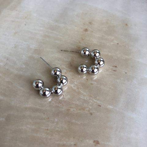 Серьги Полири, серебряный цвет