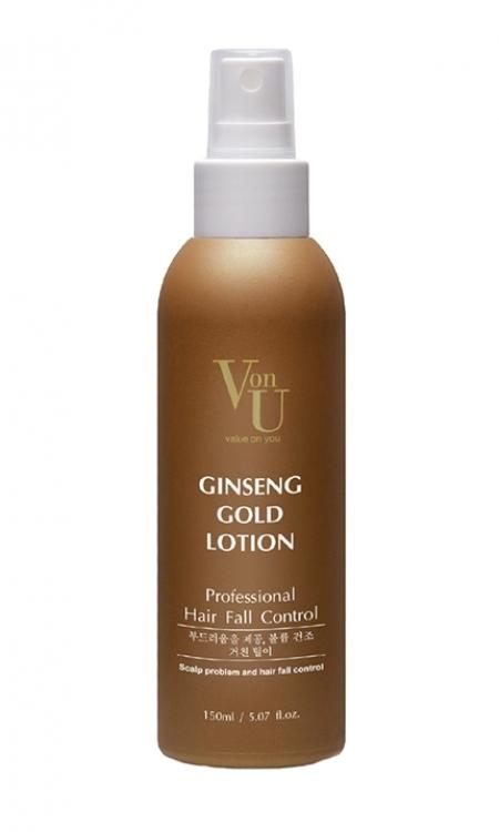 Купить со скидкой Спреи: Лосьон для роста волос с экстрактом золотого женьшеня Von-U Ginseng Gold Lotion, 150 мл