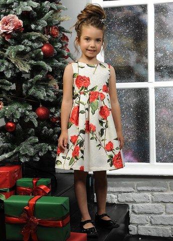 Pelican GWDV3094/2 Платье для девочек нарядное белое в цветочек
