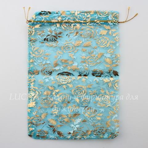 """Подарочный мешочек из органзы """"Золотые розы"""", цвет - голубой, 23х17 см"""