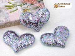 Мягкое блестящее сердце голубое №8