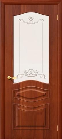 Дверь Дера Леона, цвет итальянский орех, остекленная