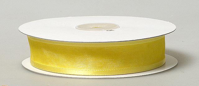 Лента органза с атласной полоской 2,5 см желтая