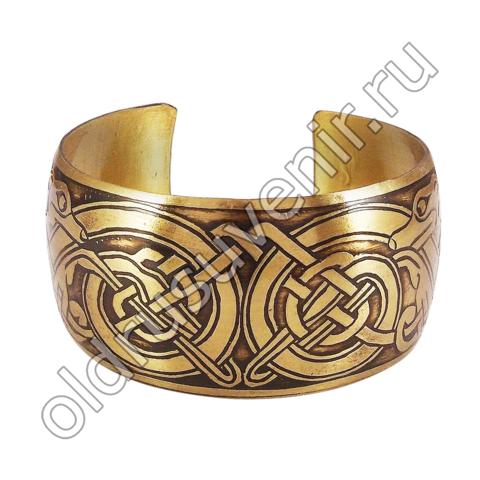 Браслет Переплетенные Кельтские собаки - символ плодородия, целительства и защиты, медь, 32 см