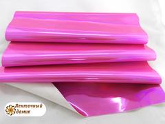 Кожа голограмма ярко-розовая
