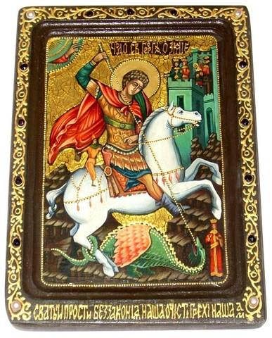 Инкрустированная живописная икона Чудо святого Георгия о змие 29х21см на натуральном кипарисе в подарочной коробке