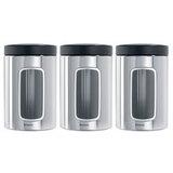 Набор контейнеров для сыпучих продуктов с окном (1,4 л), 3 шт., Стальной полированный, артикул 247286, производитель - Brabantia