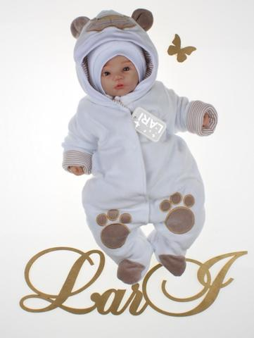 Утепленный велюровый комбинезон Панда стиль (белый)