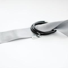 Женский браслет из натуральной кожи, черный  оптом и в розницу