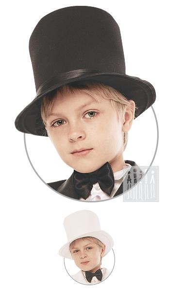 Цилиндр детский изготовлен из габардина на жесткой основе, поля - на металлическом каркасе. Подкладка изделия - хлопчатобумажная, тулья украшена лентой одного цвета с детским цилиндром.