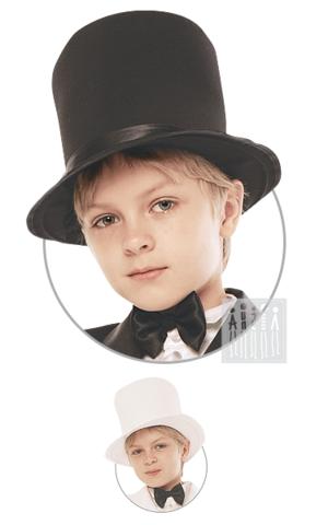 Фото Цилиндр ( для фрака ) рисунок Черный фрак для мальчика изготовлен из прочной и долговечной ткани - габардина. Манжеты и лацканы отделаны блестящим креп-сатином. Фрак застегивается впереди на две пуговицы.