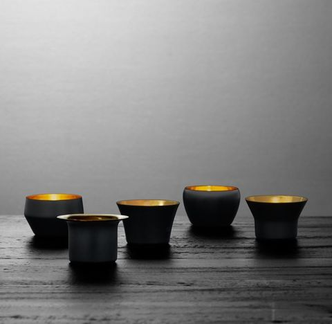 Skultuna Solid Brass Votive Holders - Black (Set of 5)