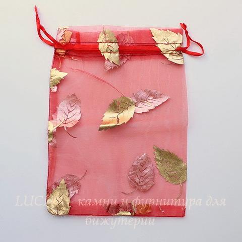 """Подарочный мешочек из органзы """"Золотые листья"""", цвет - красный, 20х14 см"""