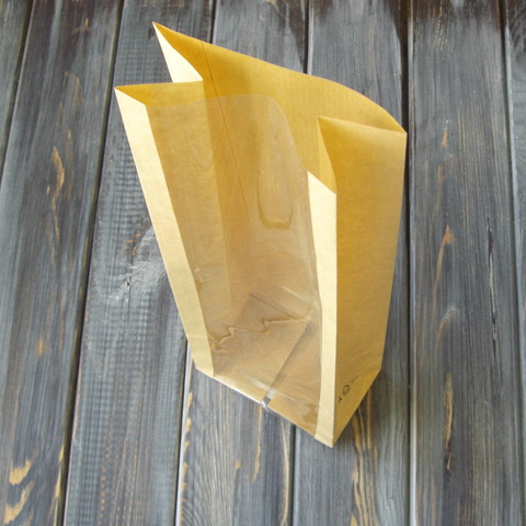 Крафт-пакет с прямоугольным окошком (10*31*6см)