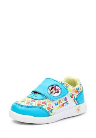 Кроссовки Минни Маус (Minnie Mouse) на липучке для девочек, цвет голубой белый. Изображение 2 из 8.